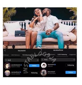Davido and Chioma back following each other on Instagram